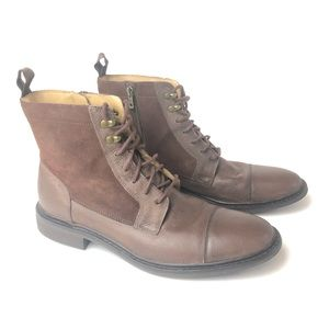 Cole Haan Grain Leather & Suede Lace Up & Zip Boot